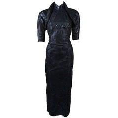 1950's Sapphire Blue Snap on Bolero Cheongsam Gown Hand Sewn Sequin Design