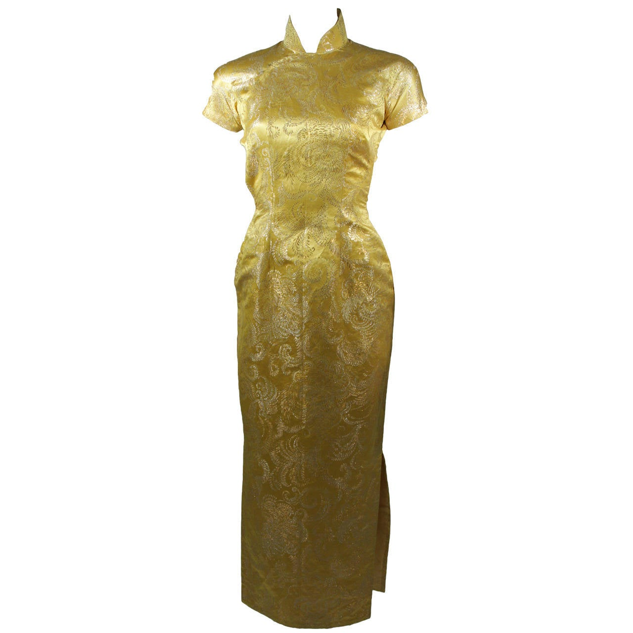 1950's Ornate Silk Brocade Golden Yellow Cheongsam Cocktail Gown  Size XS 1