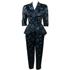 Atomic Era Dynasty Asian Inspired Black and Blue Floral Pant Suit Sz 0-2
