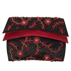 Duizend-Gans Black Beaded Satin Evening Clutch with Red Lining