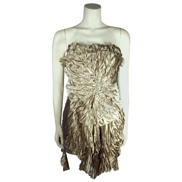 Marchesa Silver Rhinestone Cocktail dress 1