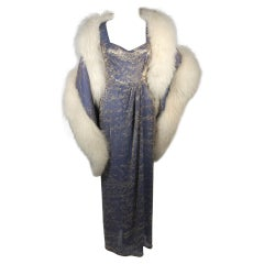 Nolan Miller Attributed Custom Evening Gown Ensemble with White Fox Wrap Size S