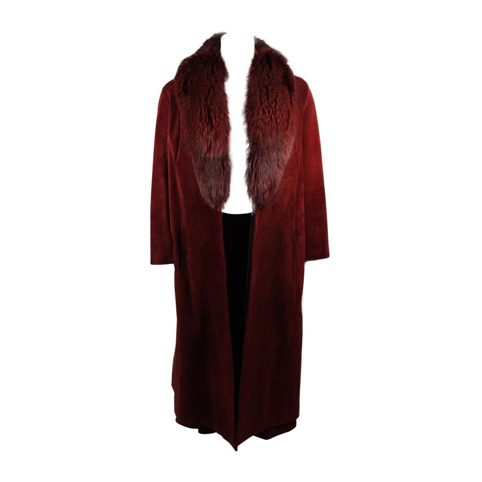 Nolan Miller Burgundy Suede and Fox Coat Ensemble Size Small