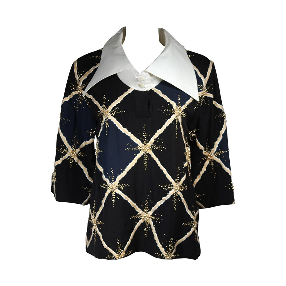 Pierre Balmain Couture Embellished Blouse with Exaggerated Collar  Size Small 1