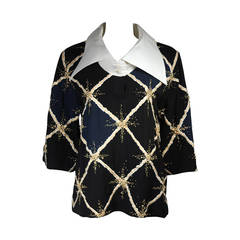Pierre Balmain Couture Embellished Blouse with Exaggerated Collar  Size Small