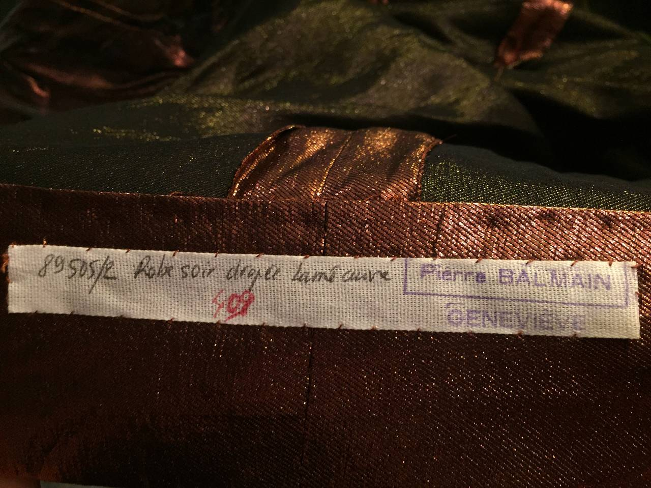 Pierre Balmain Runway Couture Copper Metallic Silk Gown Size Small Circa 1980's For Sale 3