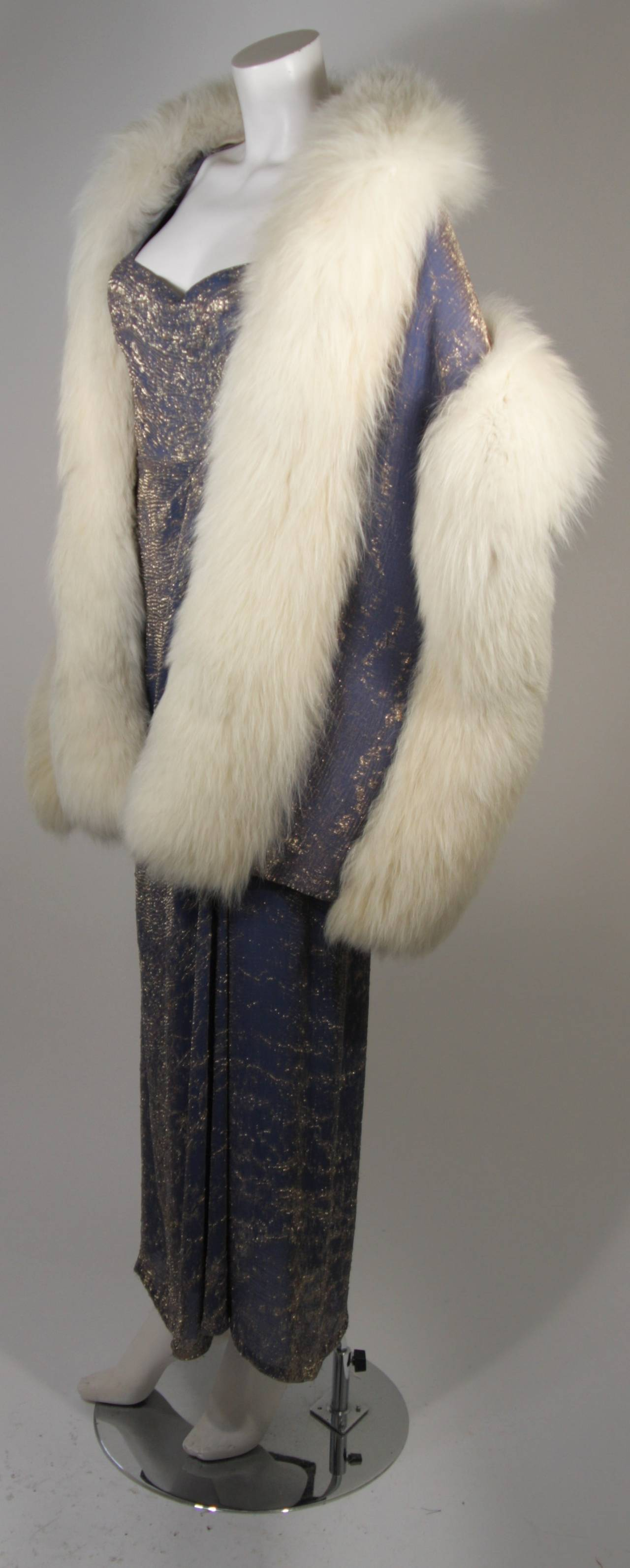 Nolan Miller Attributed Custom Evening Gown Ensemble with White Fox Wrap Size S 3