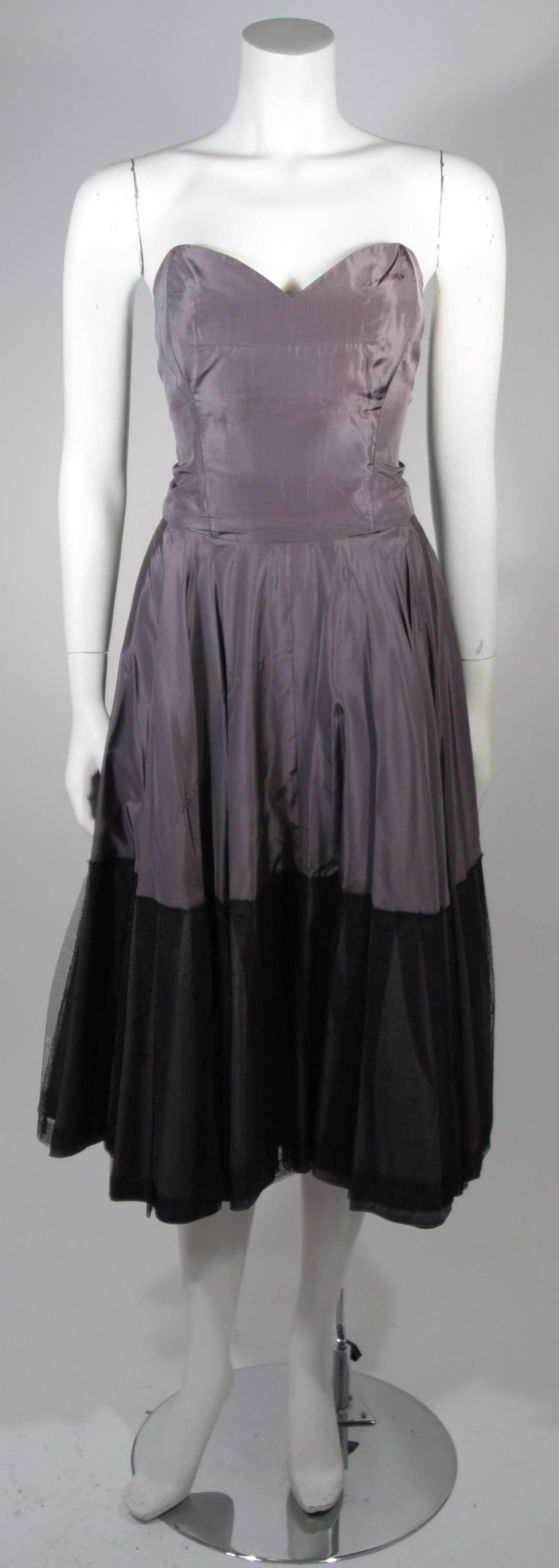 1950's Pedro Rodriguez of Madrid Grey Silk Organza Cocktail Dress Size Small 8