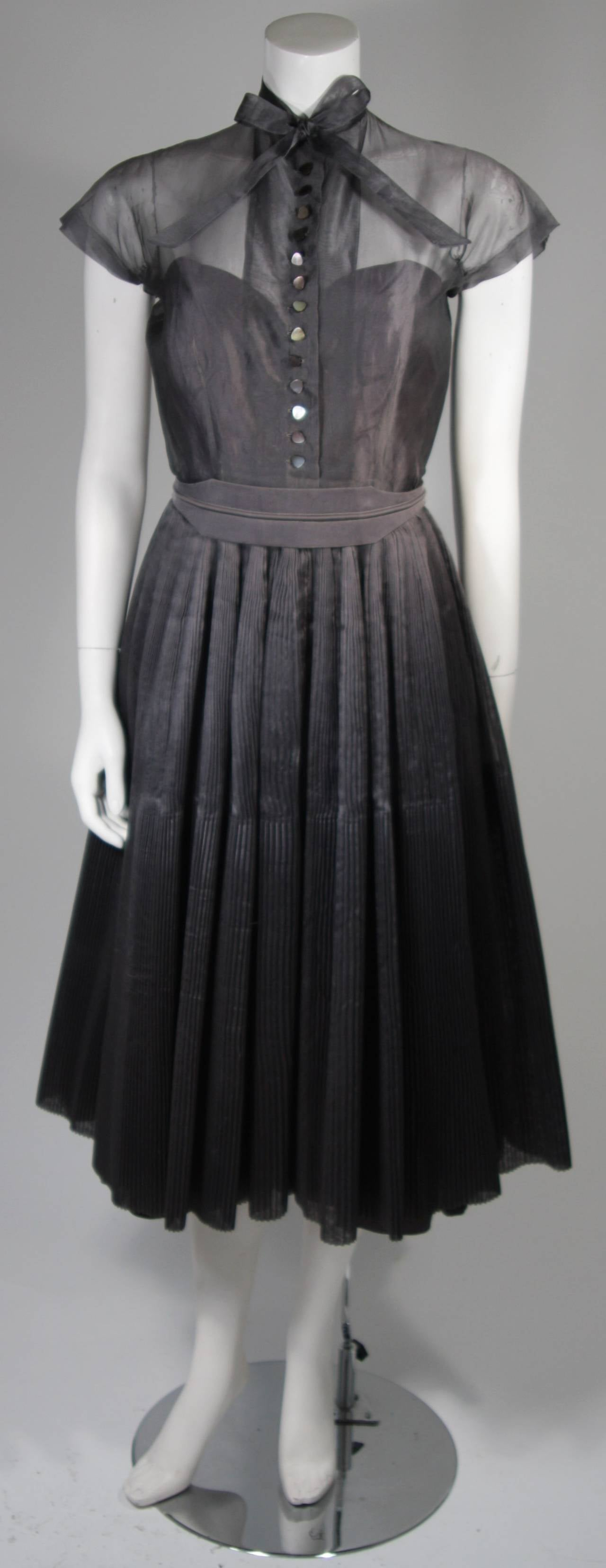 1950's Pedro Rodriguez of Madrid Grey Silk Organza Cocktail Dress Size Small 2