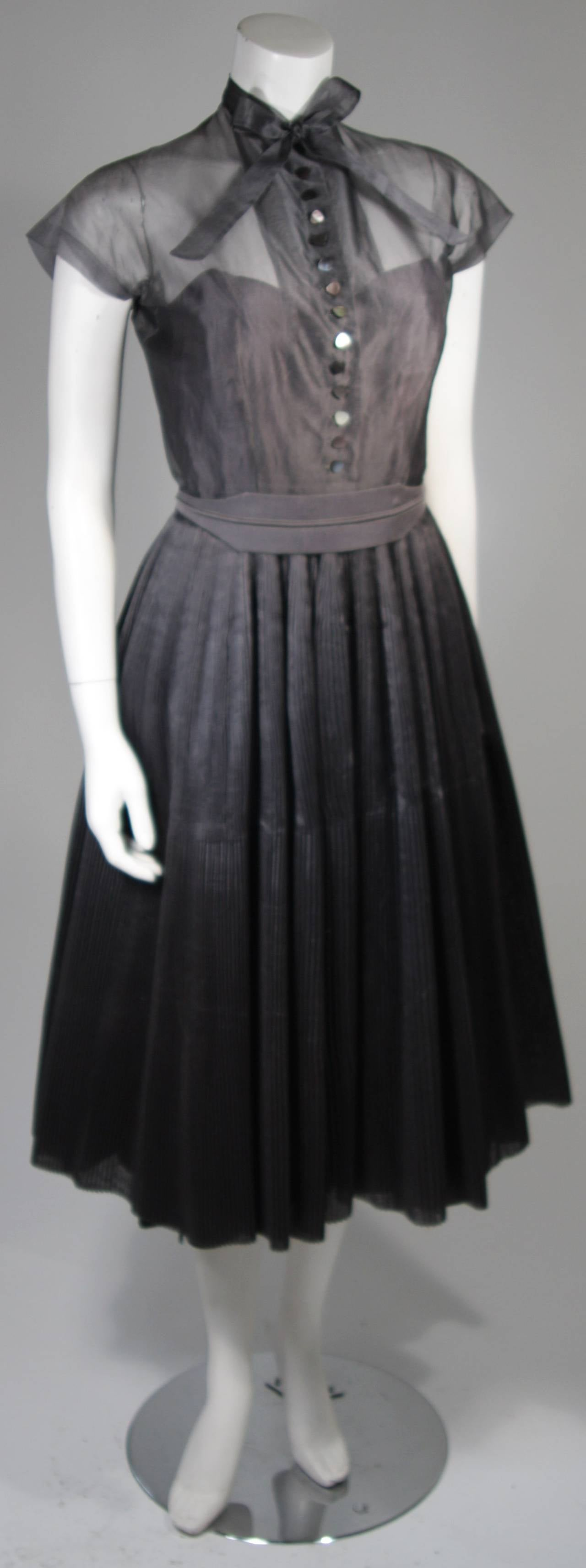 Black 1950's Pedro Rodriguez of Madrid Grey Silk Organza Cocktail Dress Size Small For Sale