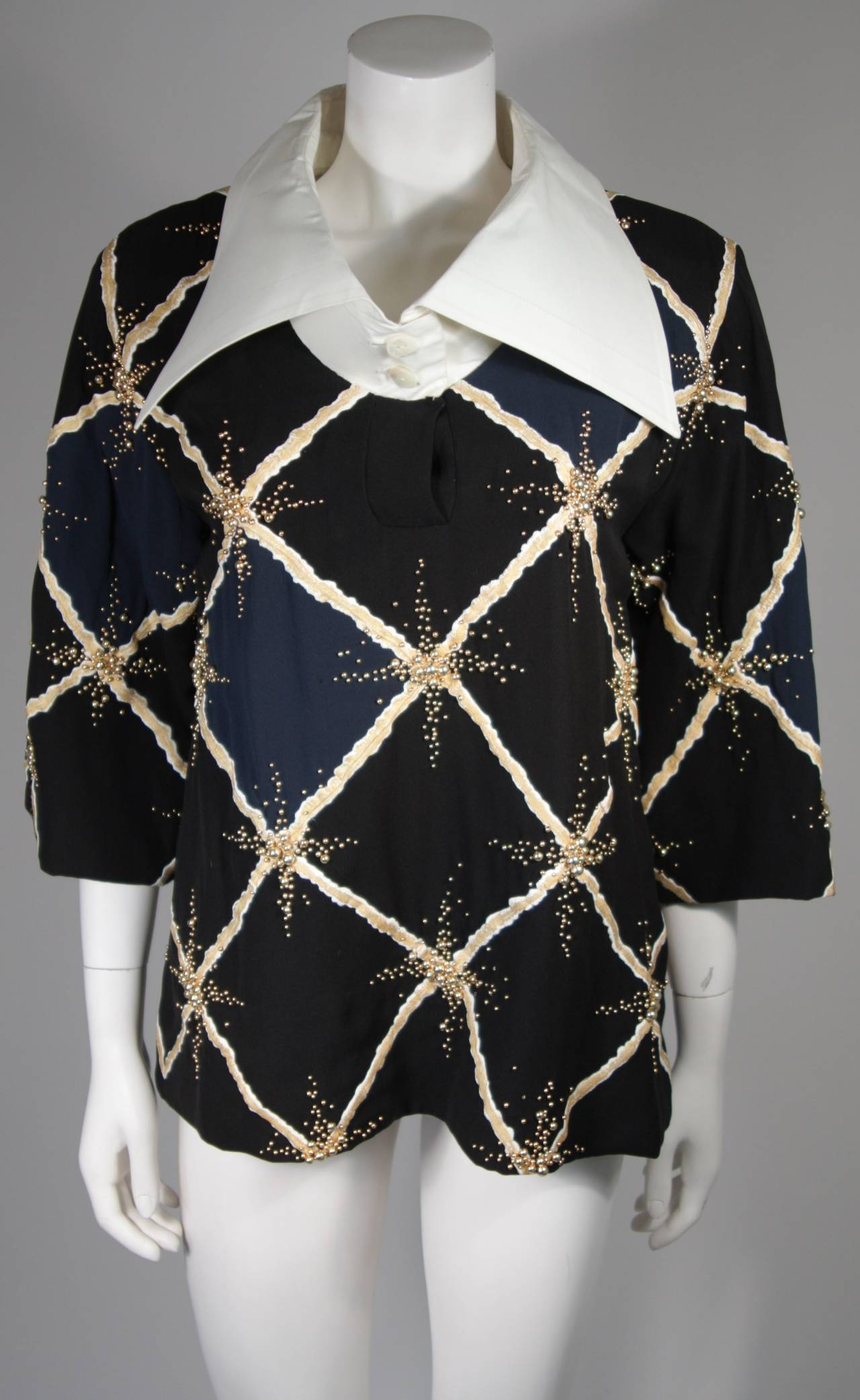 Pierre Balmain Couture Embellished Blouse with Exaggerated Collar  Size Small 2