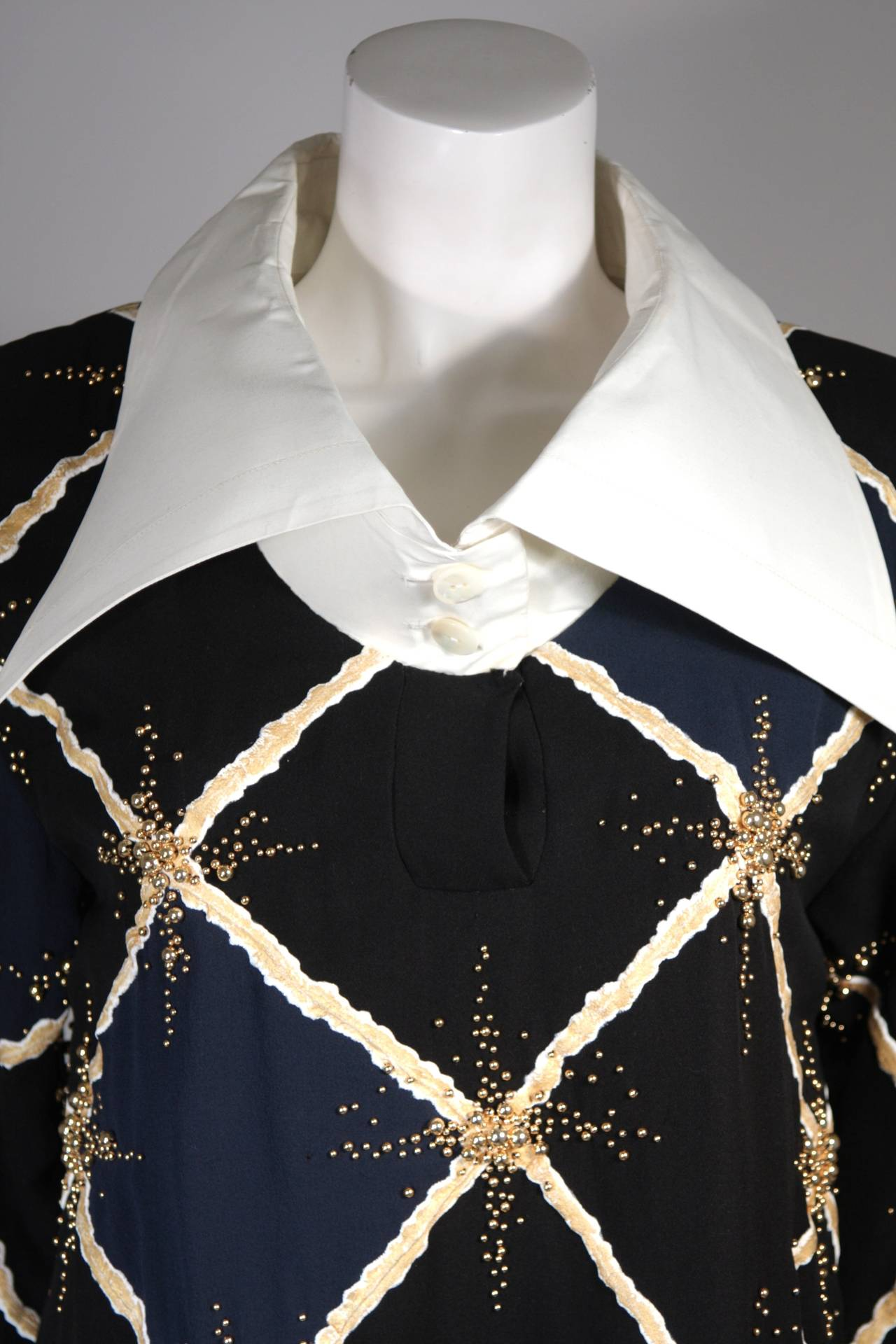 Pierre Balmain Couture Embellished Blouse with Exaggerated Collar  Size Small 3