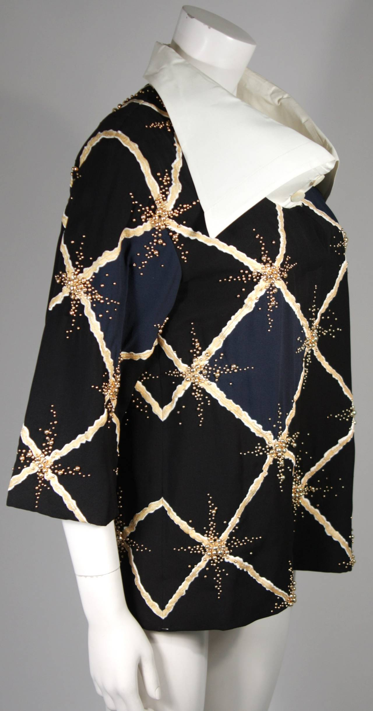 Pierre Balmain Couture Embellished Blouse with Exaggerated Collar  Size Small 6