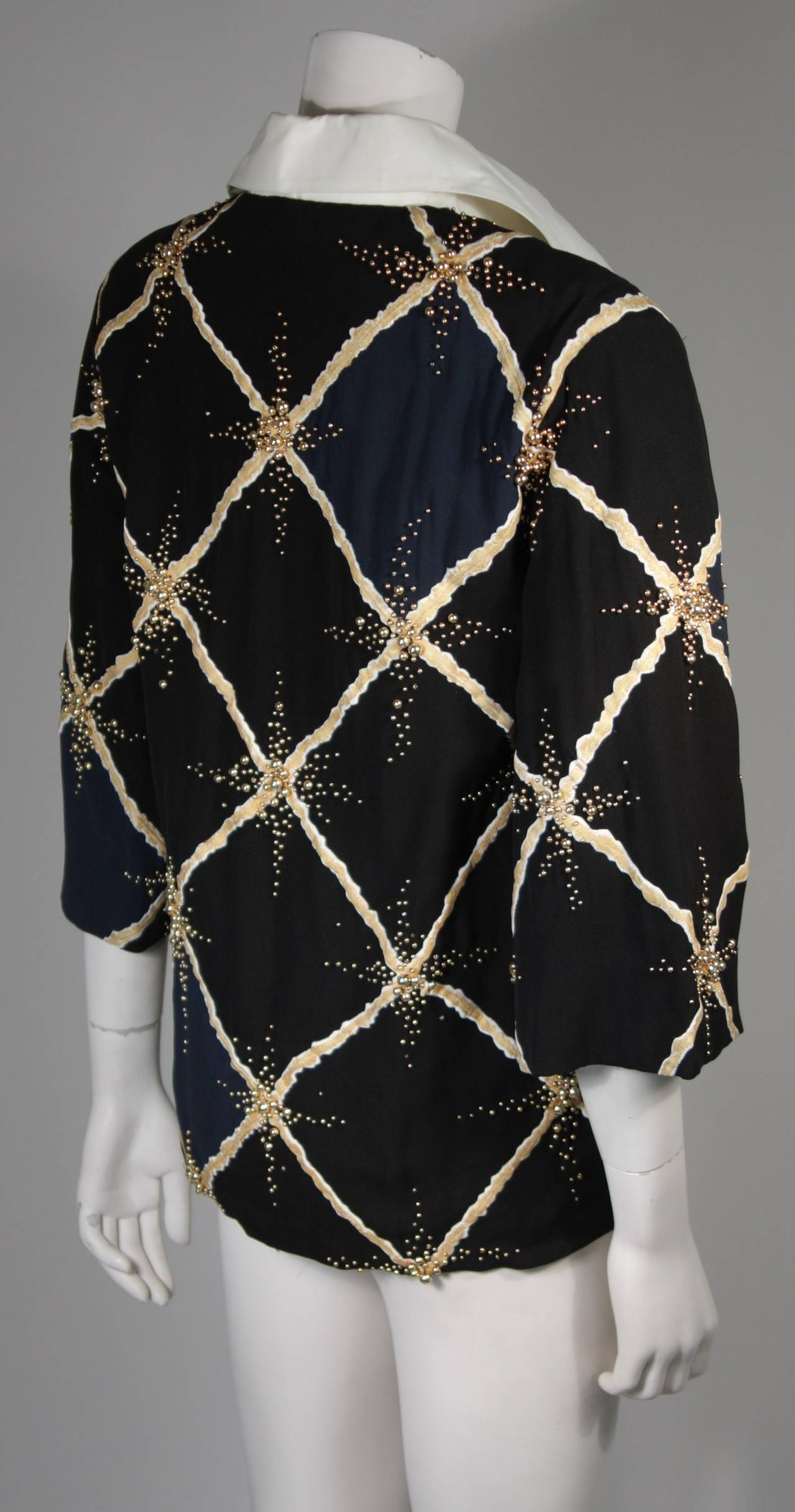 Pierre Balmain Couture Embellished Blouse with Exaggerated Collar  Size Small 7