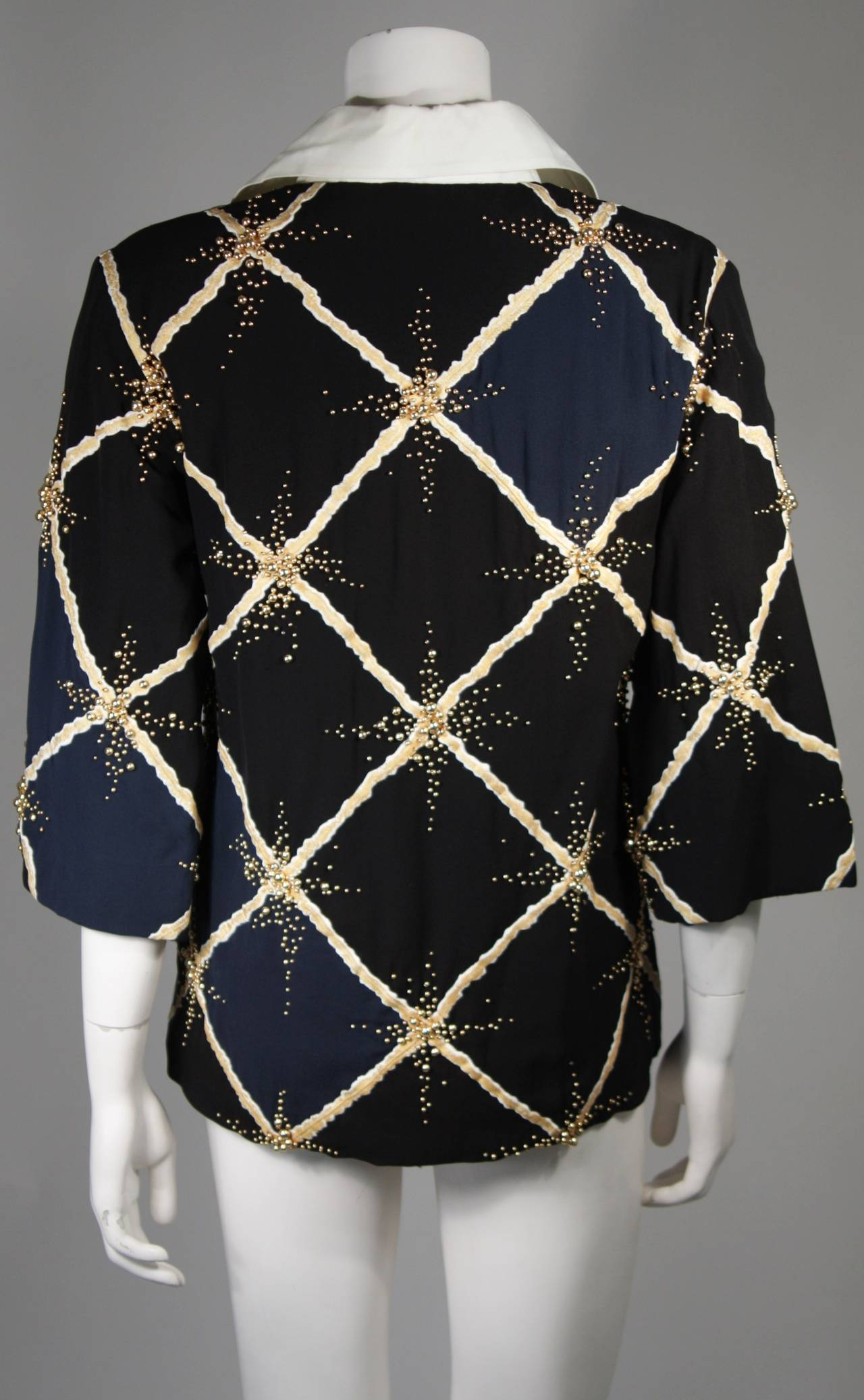 Pierre Balmain Couture Embellished Blouse with Exaggerated Collar  Size Small 8