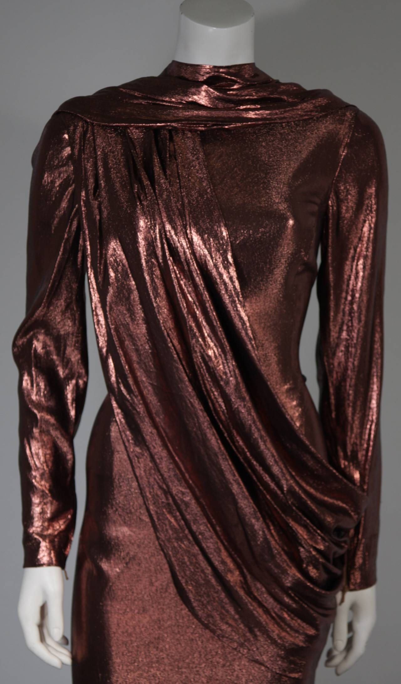 Pierre Balmain Runway Couture Copper Metallic Silk Gown Size Small Circa 1980's 3