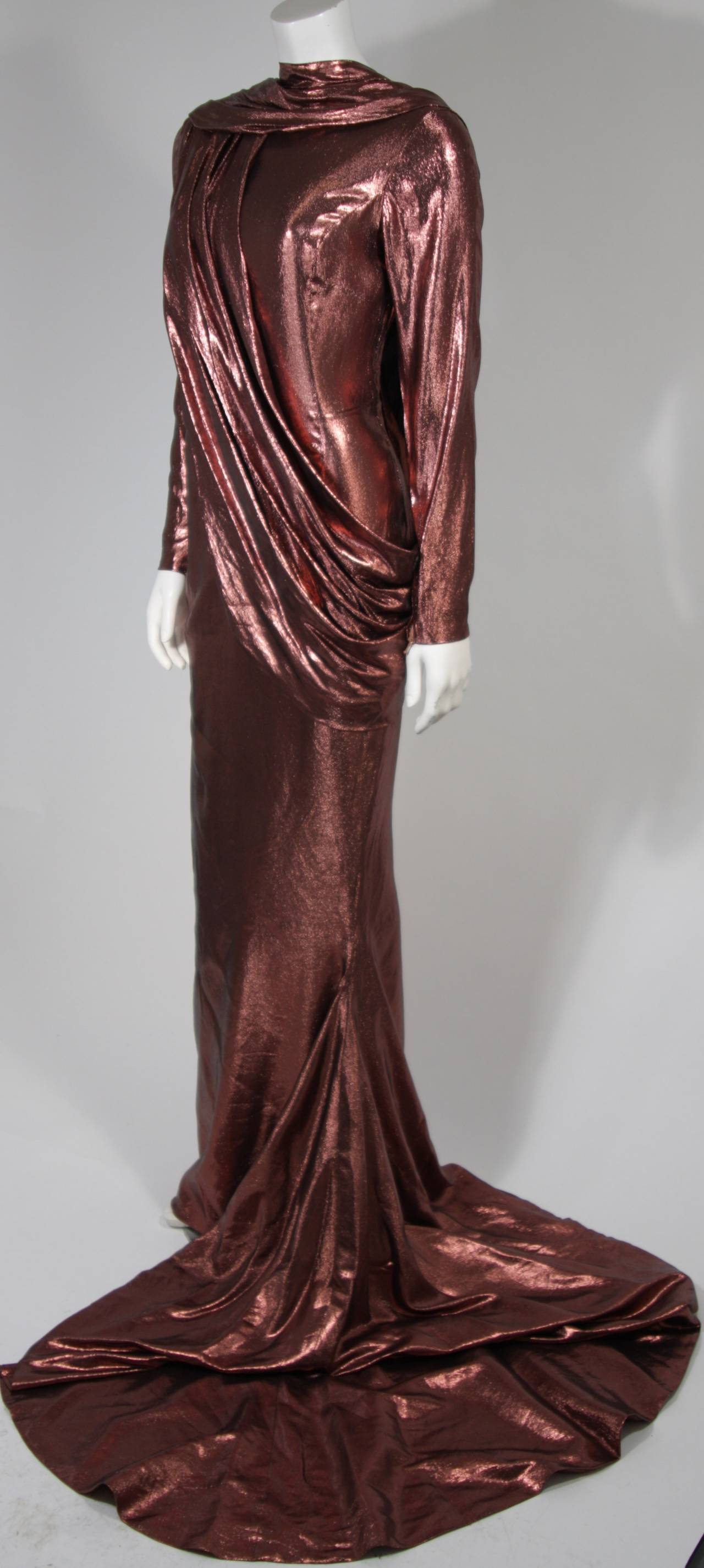 Pierre Balmain Runway Couture Copper Metallic Silk Gown Size Small Circa 1980's 2