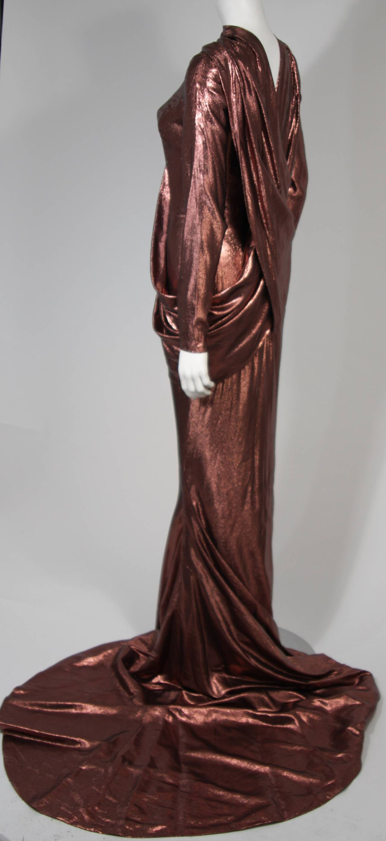 Pierre Balmain Runway Couture Copper Metallic Silk Gown Size Small Circa 1980's In Excellent Condition For Sale In Los Angeles, CA