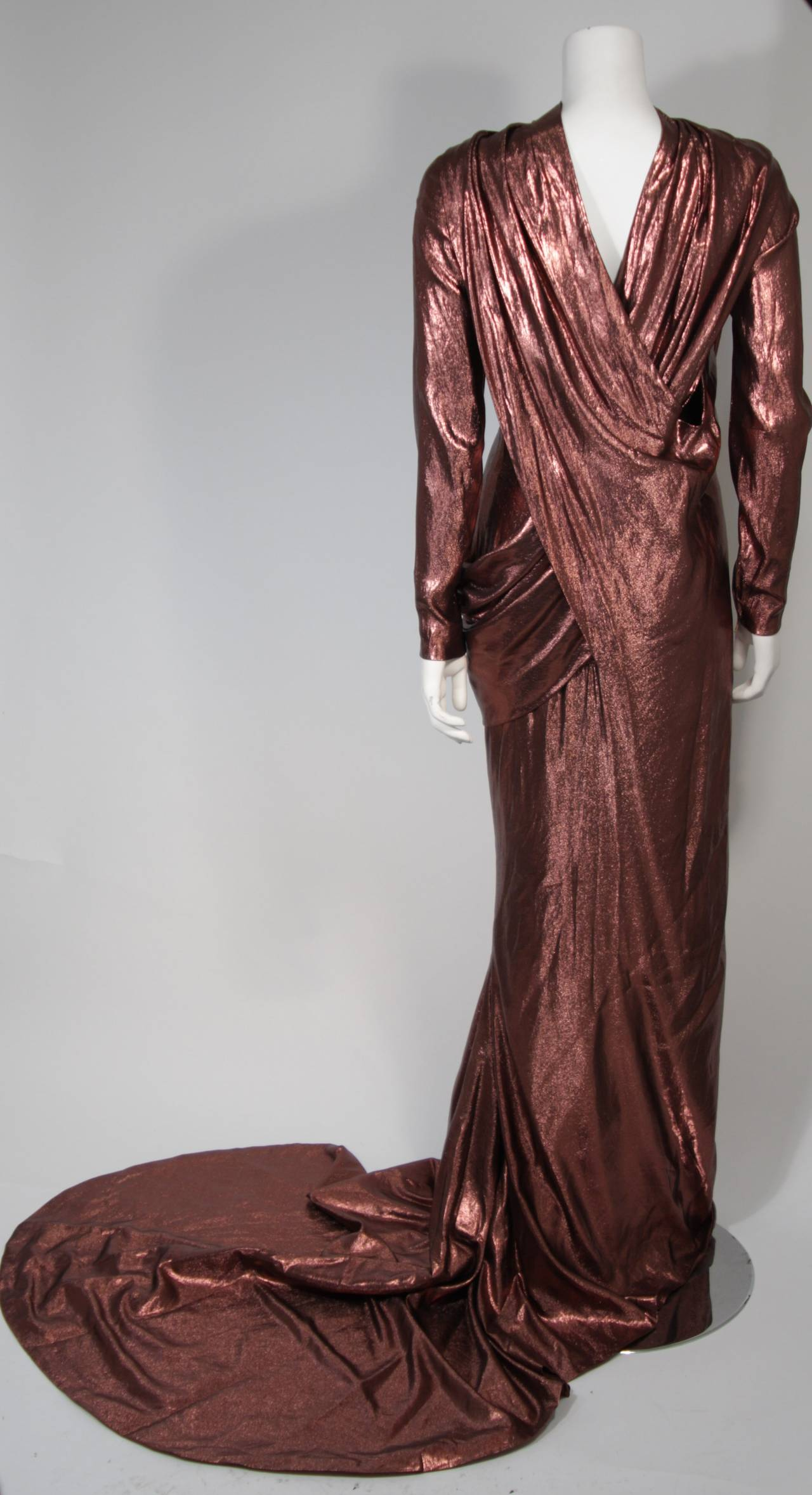 Pierre Balmain Runway Couture Copper Metallic Silk Gown Size Small Circa 1980's 6