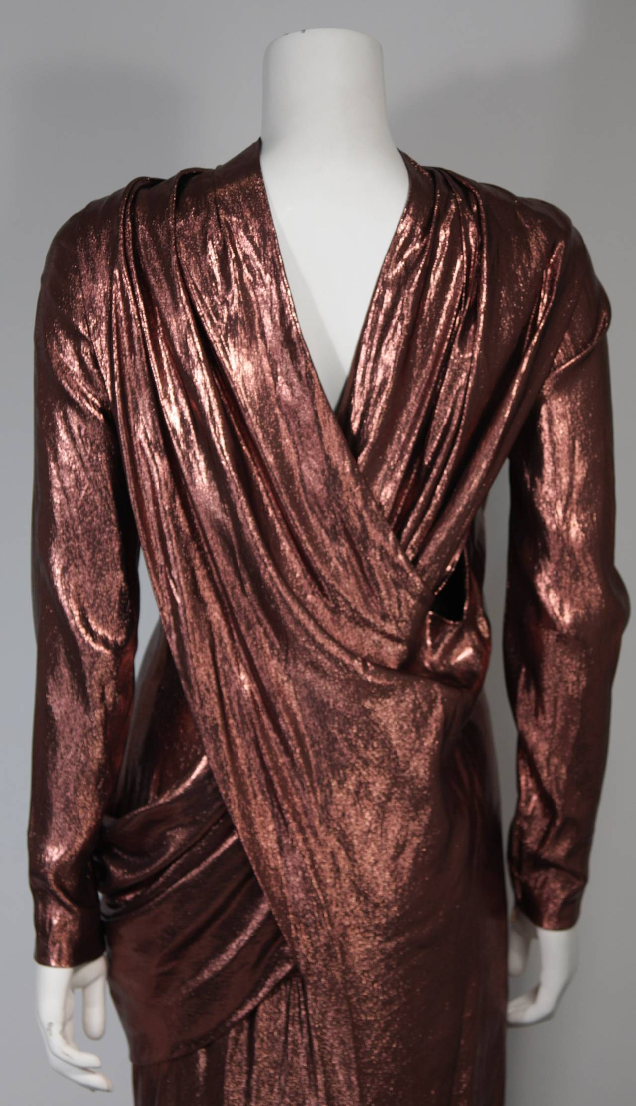 Pierre Balmain Runway Couture Copper Metallic Silk Gown Size Small Circa 1980's 7