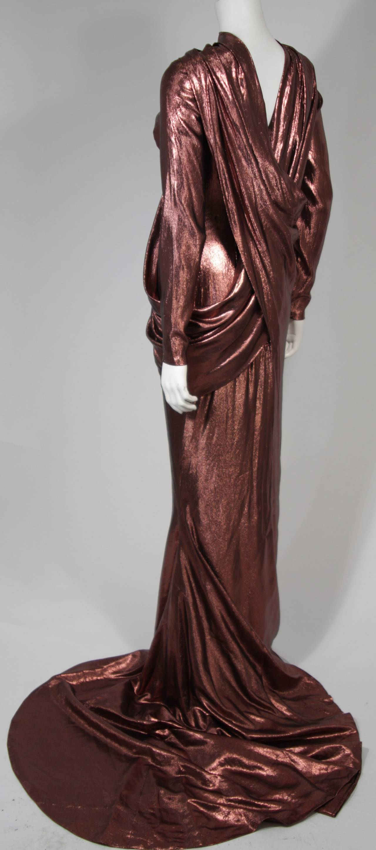 Pierre Balmain Runway Couture Copper Metallic Silk Gown Size Small Circa 1980's 5