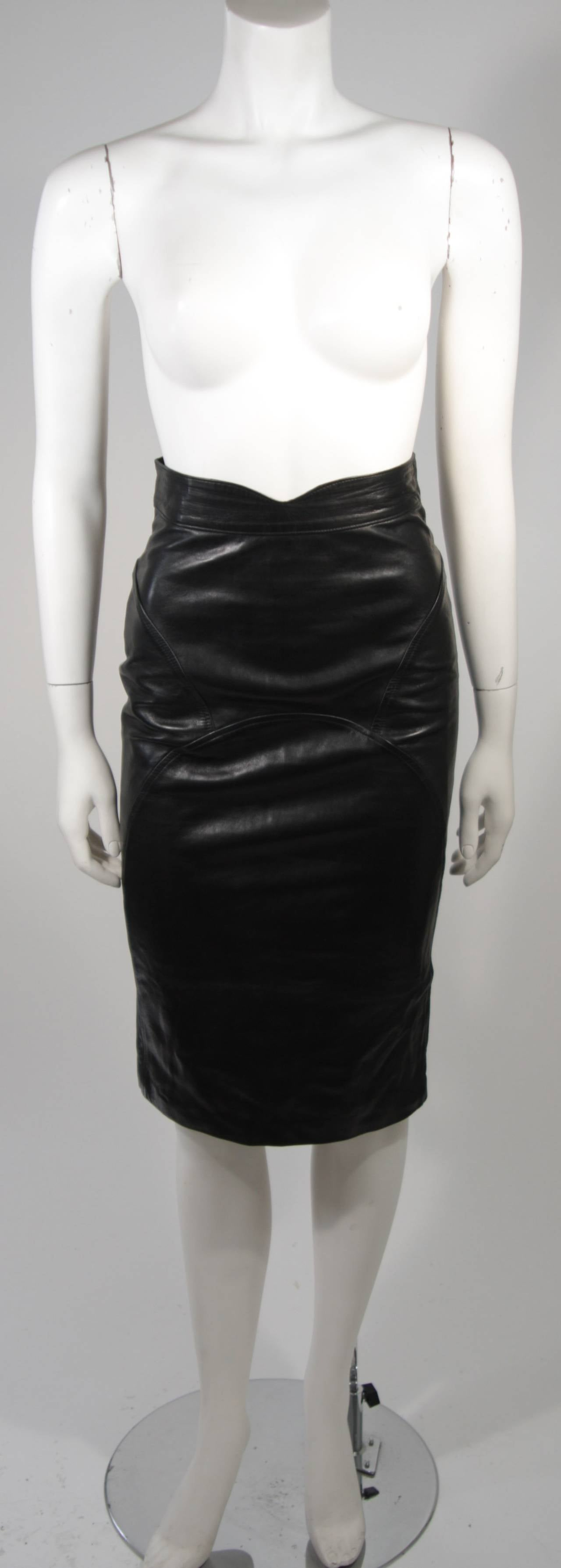 Jean Claude Jitrois Black Leather Skirt Size Extra Small 2