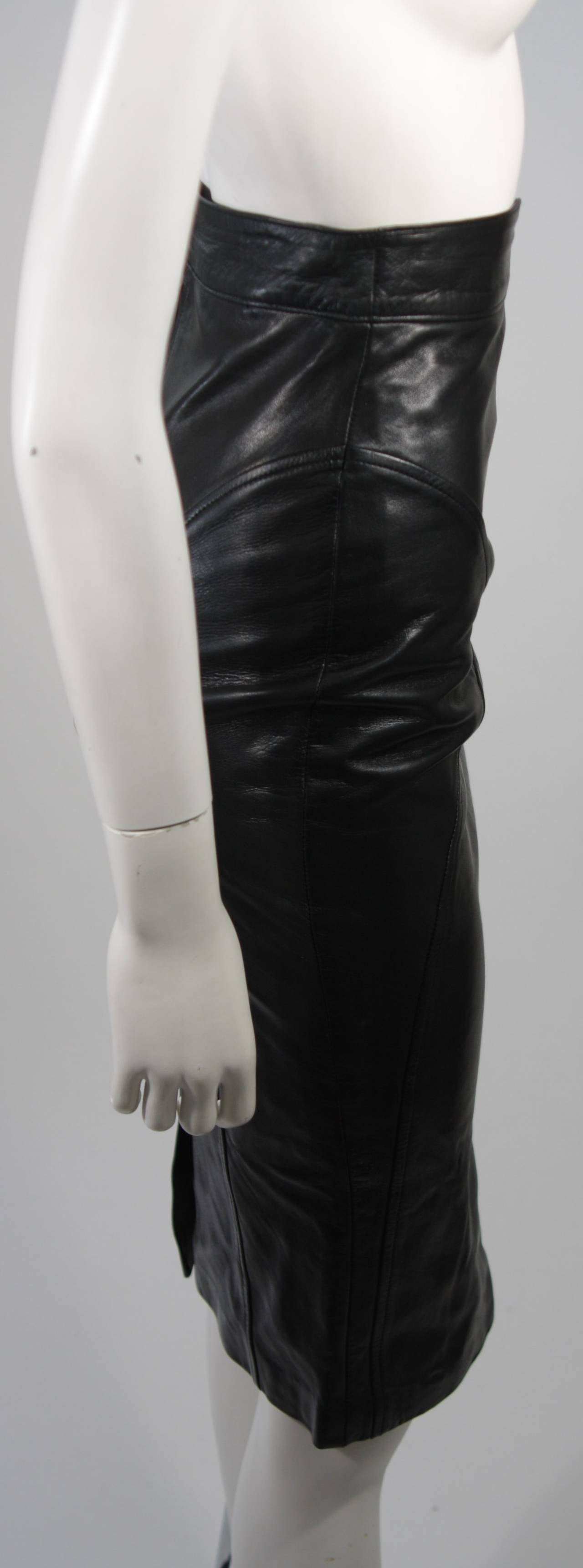 Jean Claude Jitrois Black Leather Skirt Size Extra Small 7