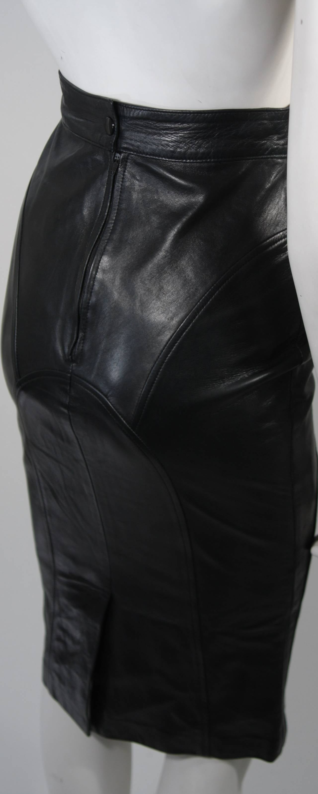 Jean Claude Jitrois Black Leather Skirt Size Extra Small 6
