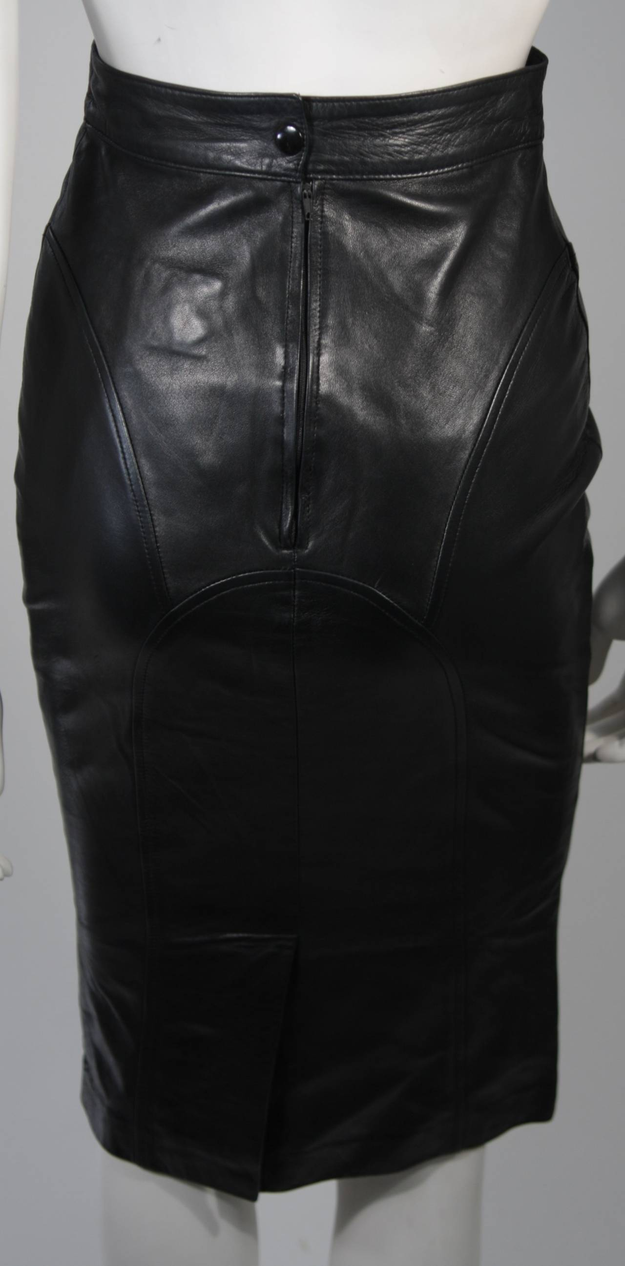 Jean Claude Jitrois Black Leather Skirt Size Extra Small 8