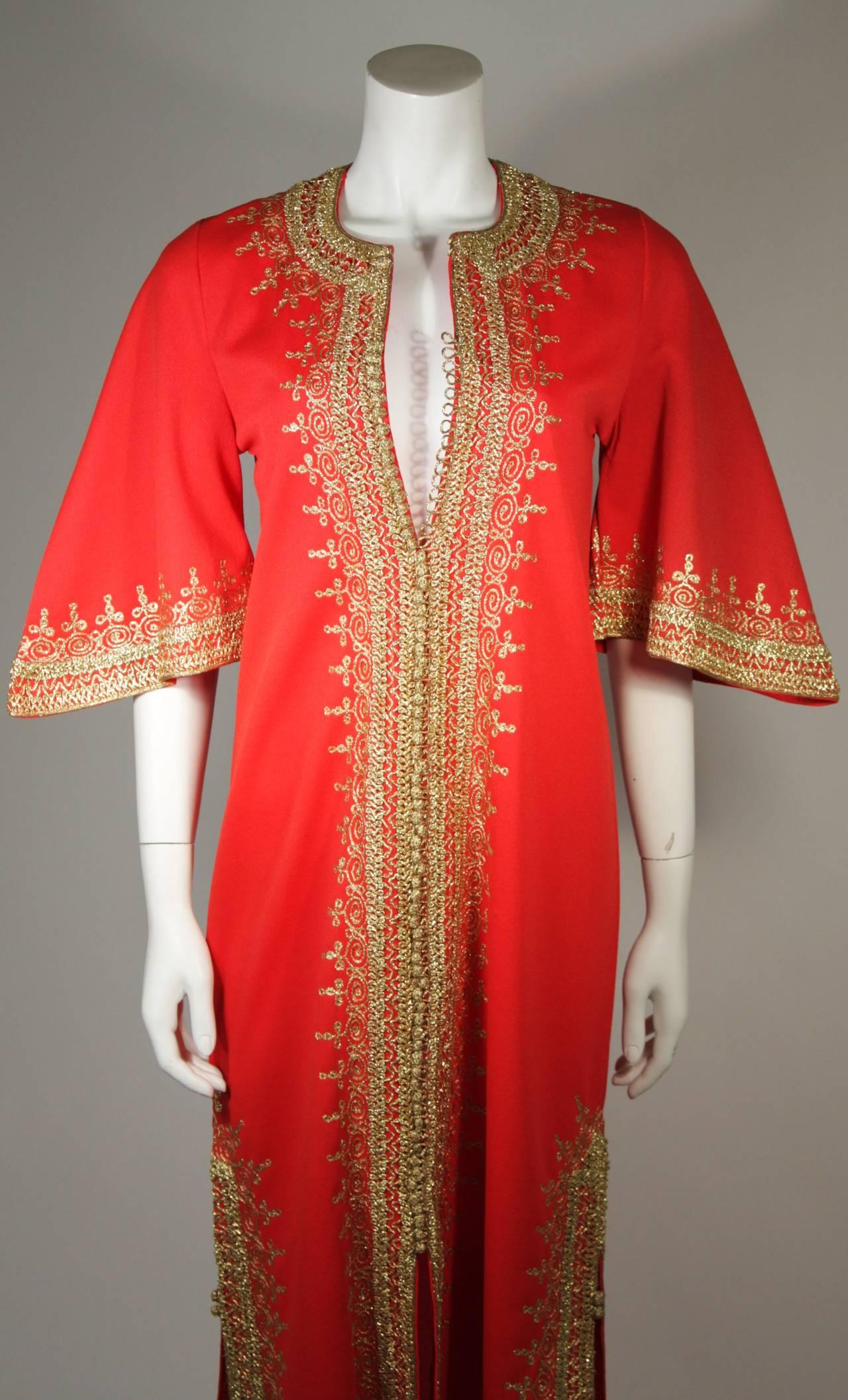 Custom Orange and Gold Indian Kaftan Size Small 3
