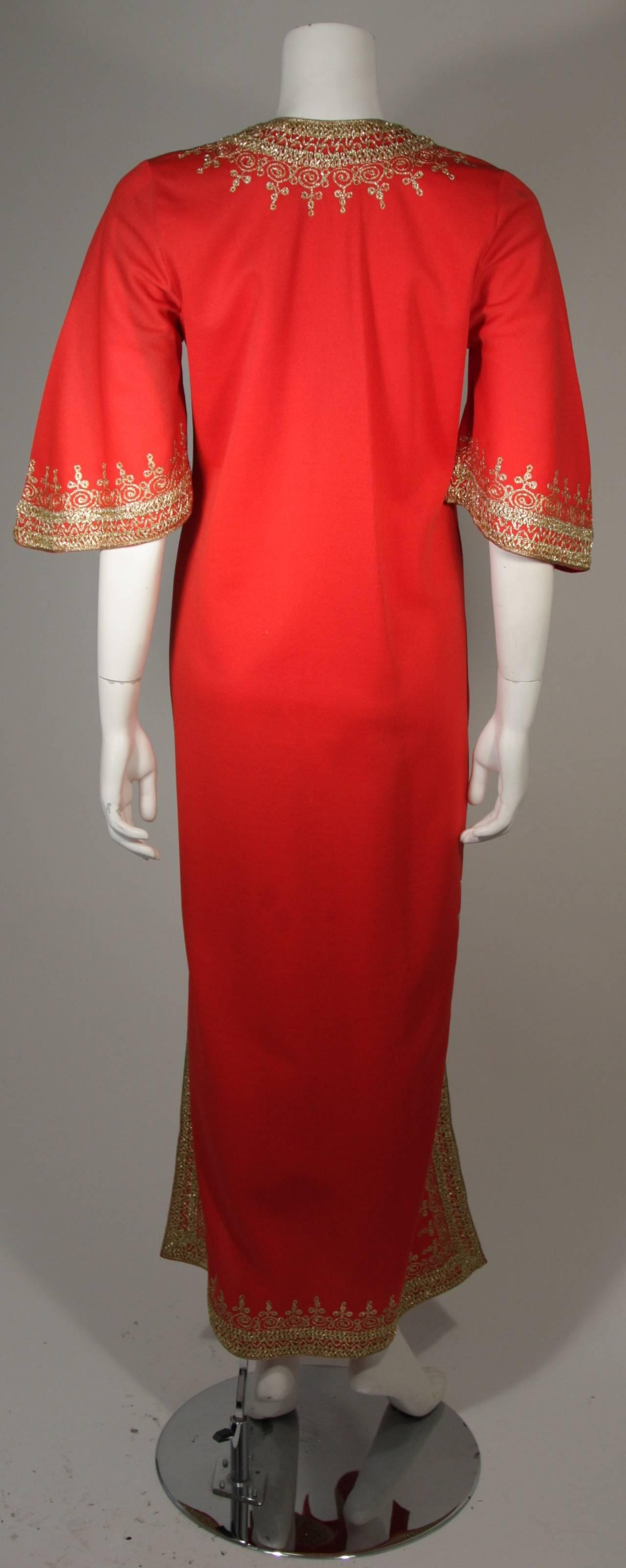 Custom Orange and Gold Indian Kaftan Size Small 7