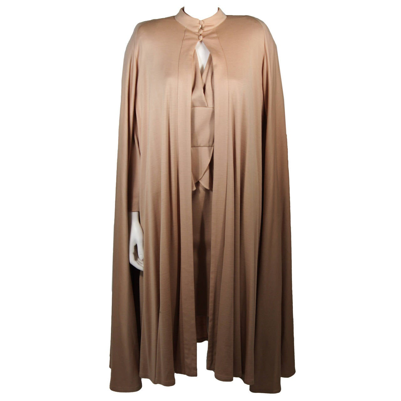 Nolan Miller Attributed Camel Wool Cape and Cocktail Dress Size Small