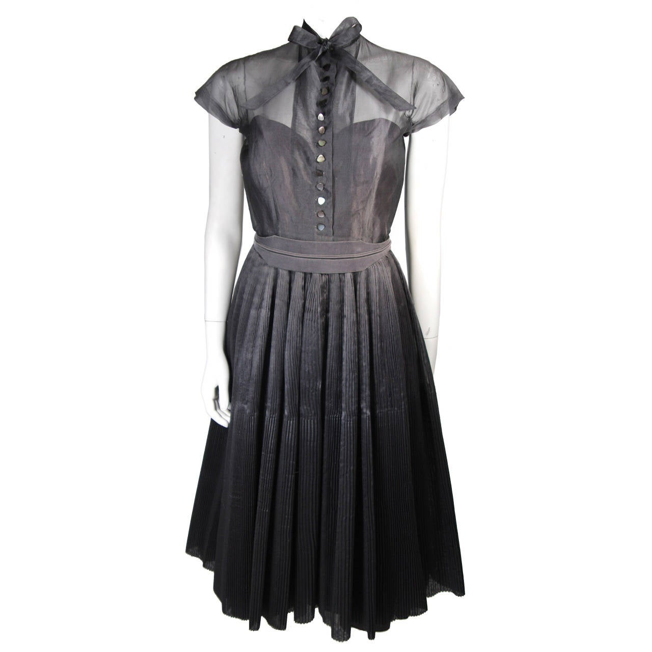1950's Pedro Rodriguez of Madrid Grey Silk Organza Cocktail Dress Size Small 1