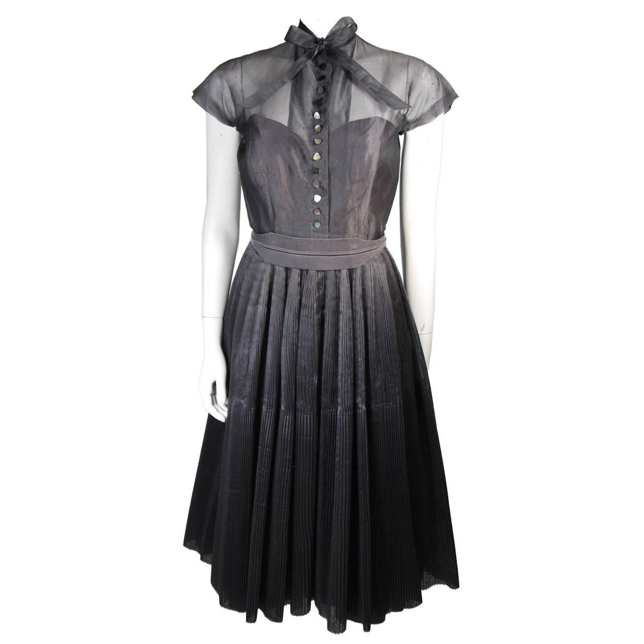 1950\'s Pedro Rodriguez of Madrid Grey Silk Organza Cocktail Dress ...