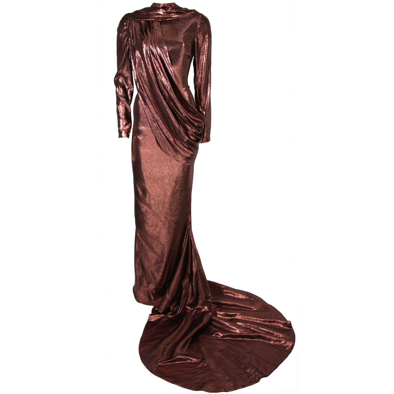 Pierre Balmain Runway Couture Copper Metallic Silk Gown Size Small Circa 1980's