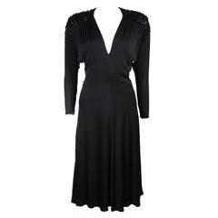 Nolan Miller Attributed Black Jersey Embellished Cocktail Dress Size Small