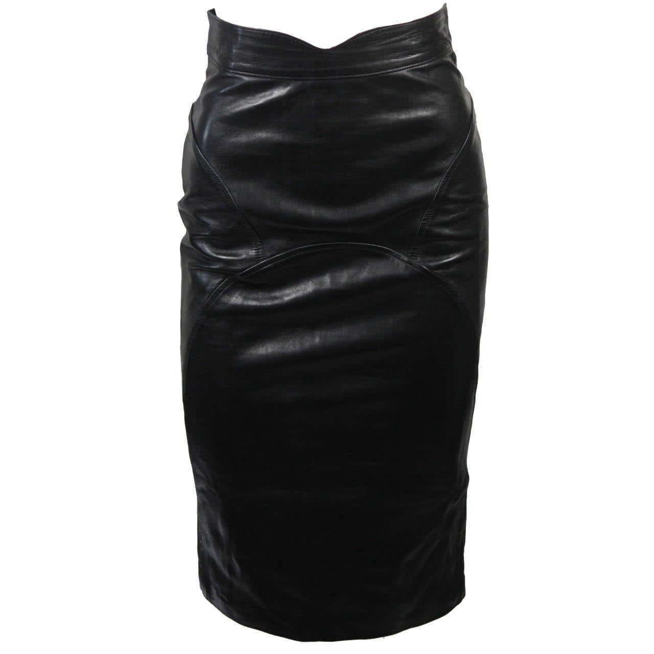 Jean Claude Jitrois Black Leather Skirt Size Extra Small 1