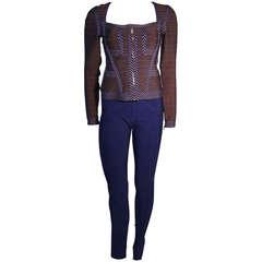 Herve Leger Contrasting Blue Trim Gray Bandage Zip top & blue leggings M