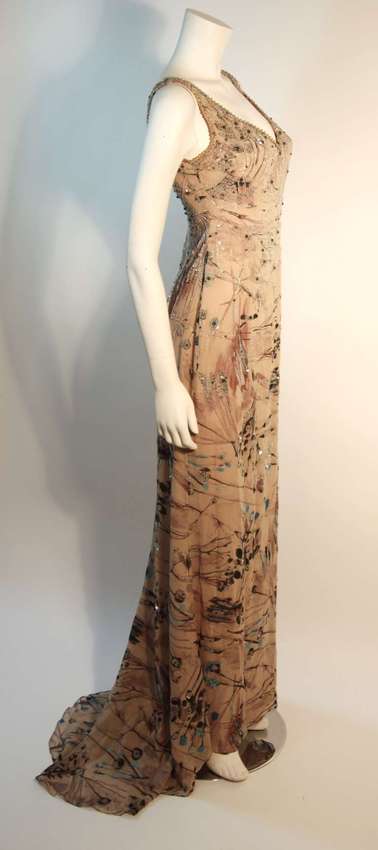 Badgley Mischka Beige Sleeveless Dress with Sequins Size 2 2
