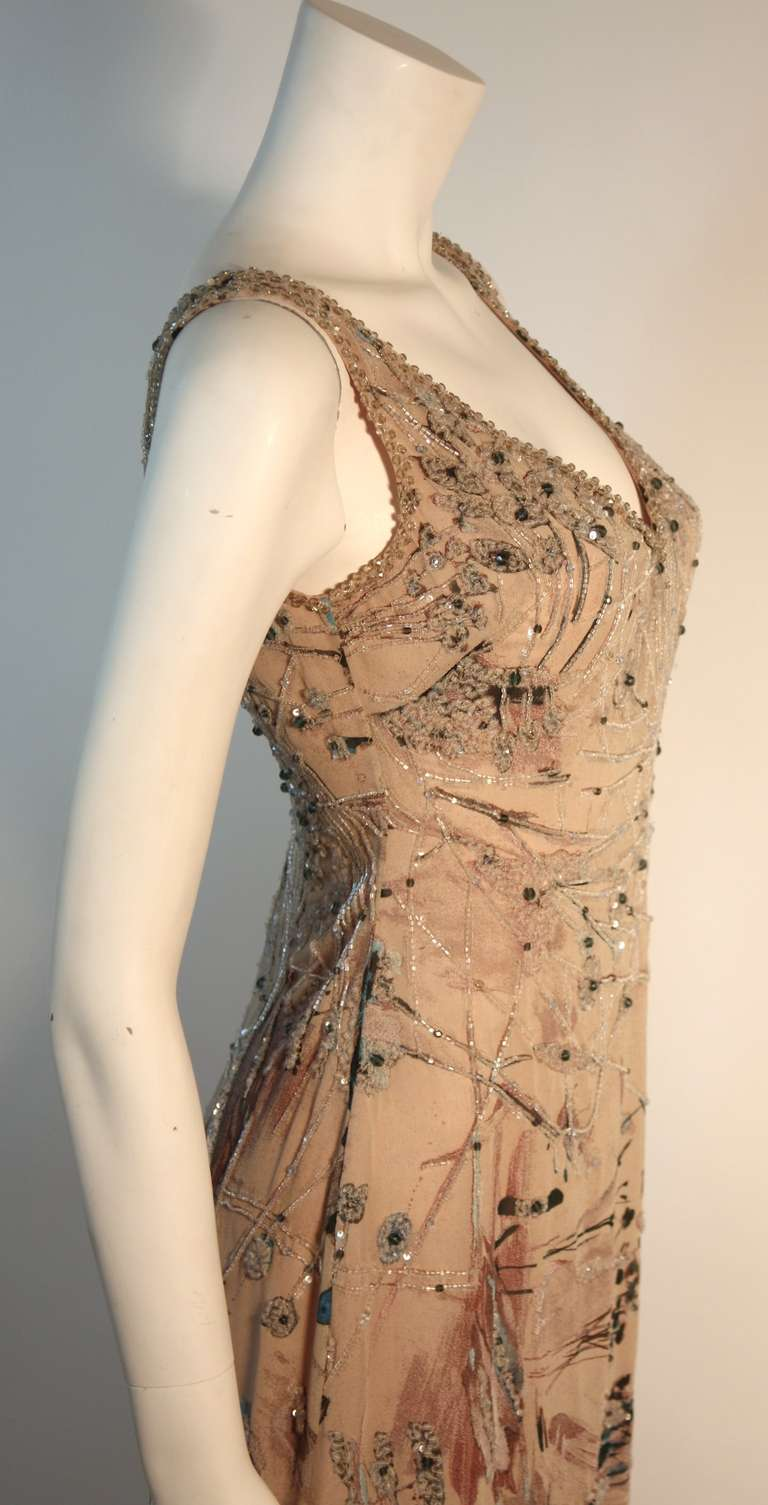 Badgley Mischka Beige Sleeveless Dress with Sequins Size 2 7