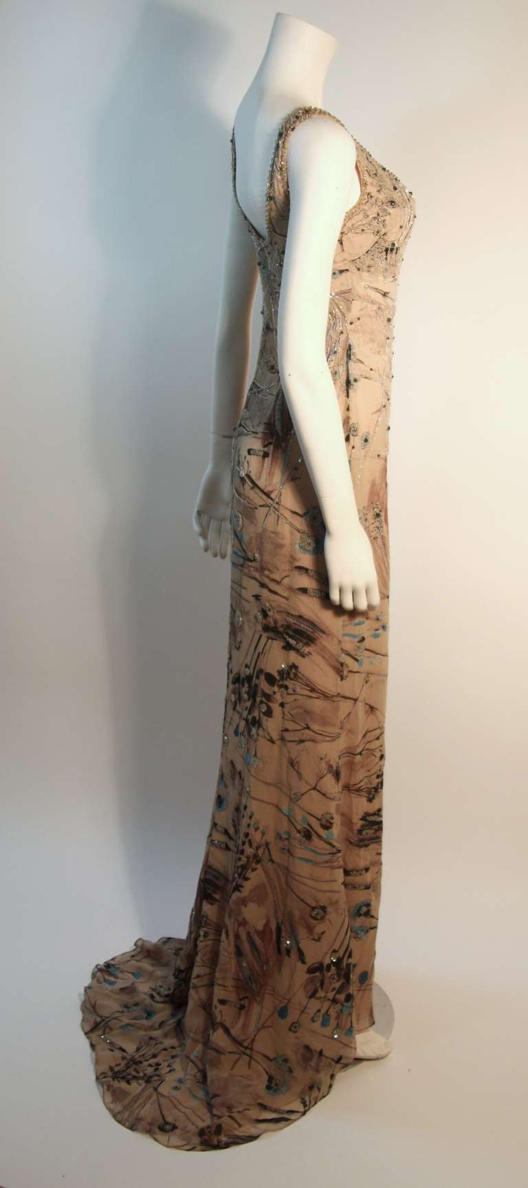 Badgley Mischka Beige Sleeveless Dress with Sequins Size 2 3