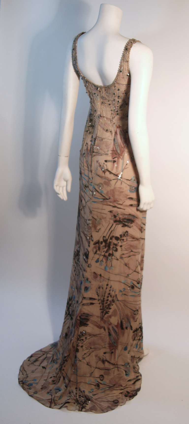 Badgley Mischka Beige Sleeveless Dress with Sequins Size 2 4