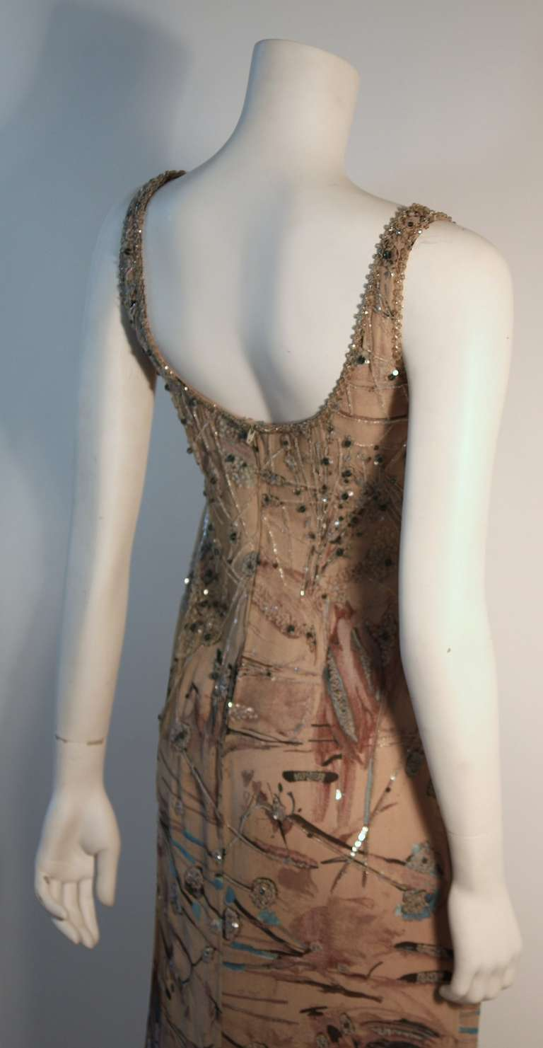 Badgley Mischka Beige Sleeveless Dress with Sequins Size 2 5