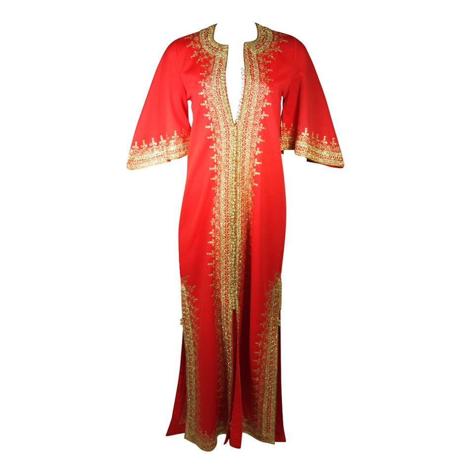 Custom Orange and Gold Indian Kaftan Size Small For Sale