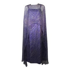 Pertegaz Madrid Couture Gown with Kaftan Overlay and Belt Size Small