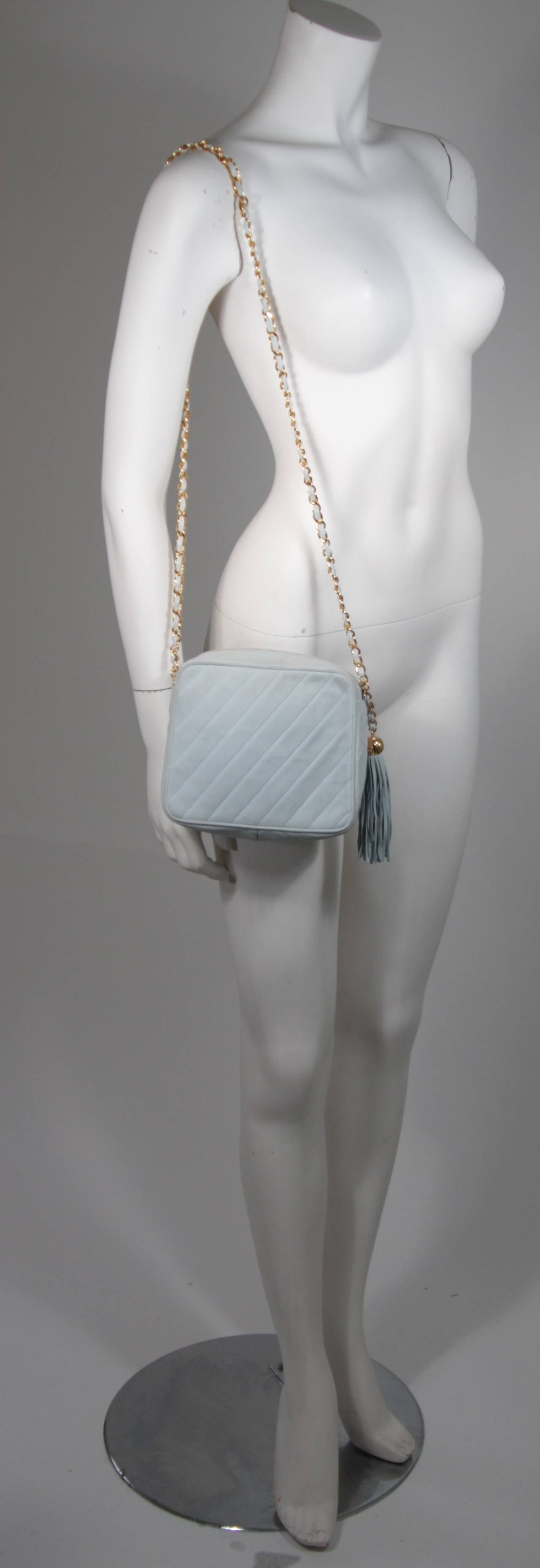 Chanel Light Blue Quilted Suede Purse with Gold Hardware and Tassel 3