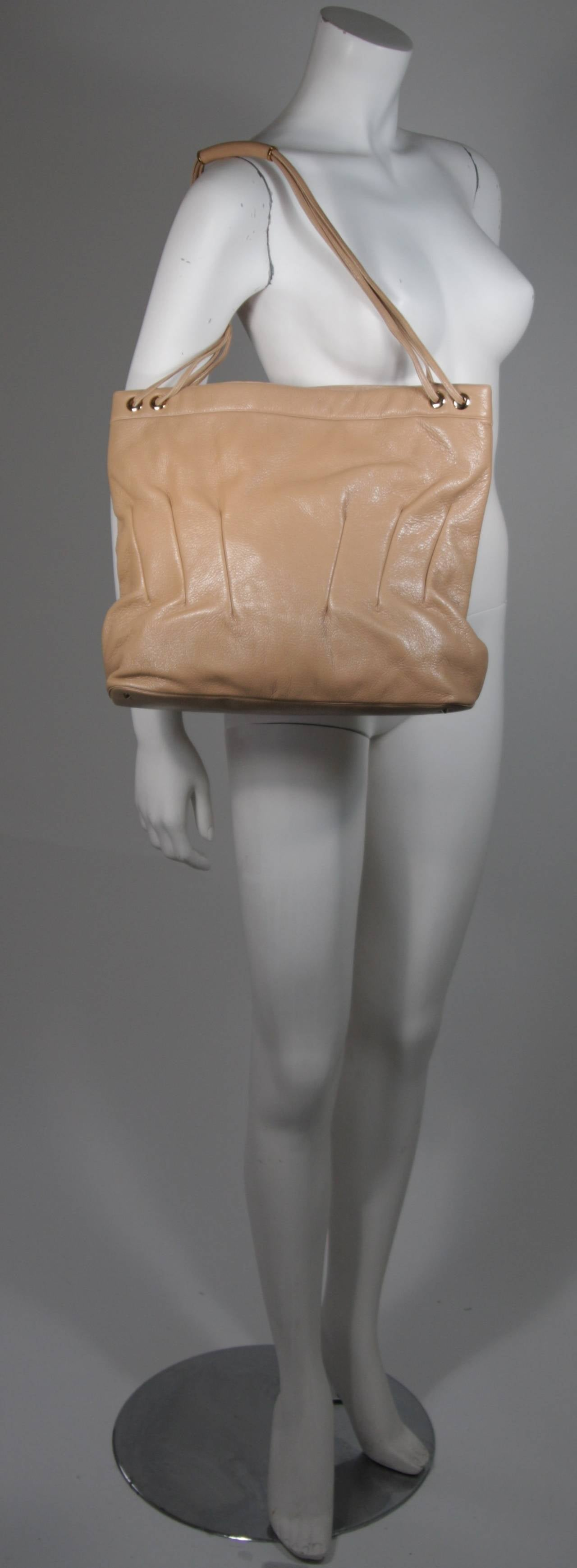 Judith Leiber Caramel Tote with Dart Detailing In Excellent Condition For Sale In Los Angeles, CA