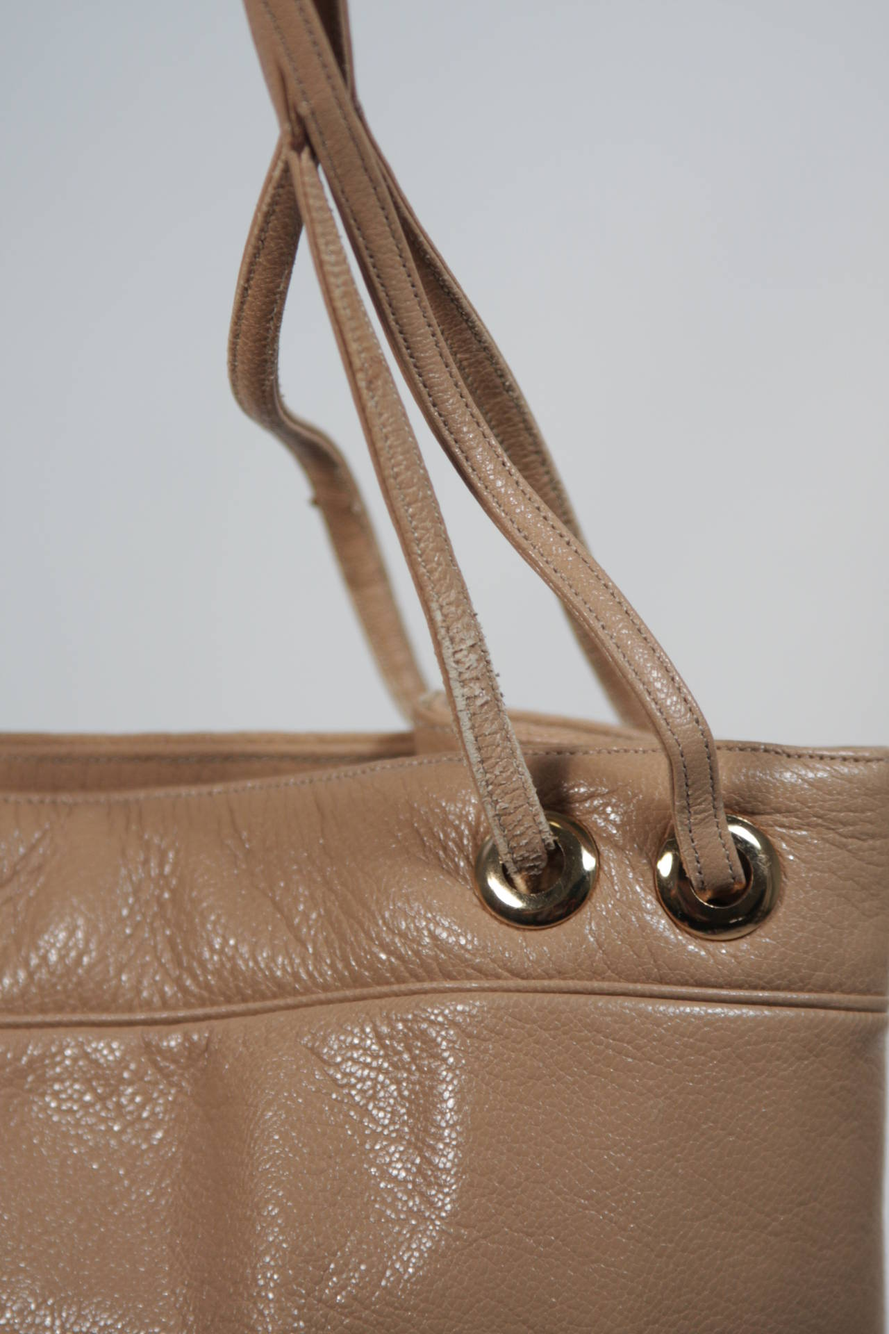 Judith Leiber Caramel Tote with Dart Detailing For Sale 6