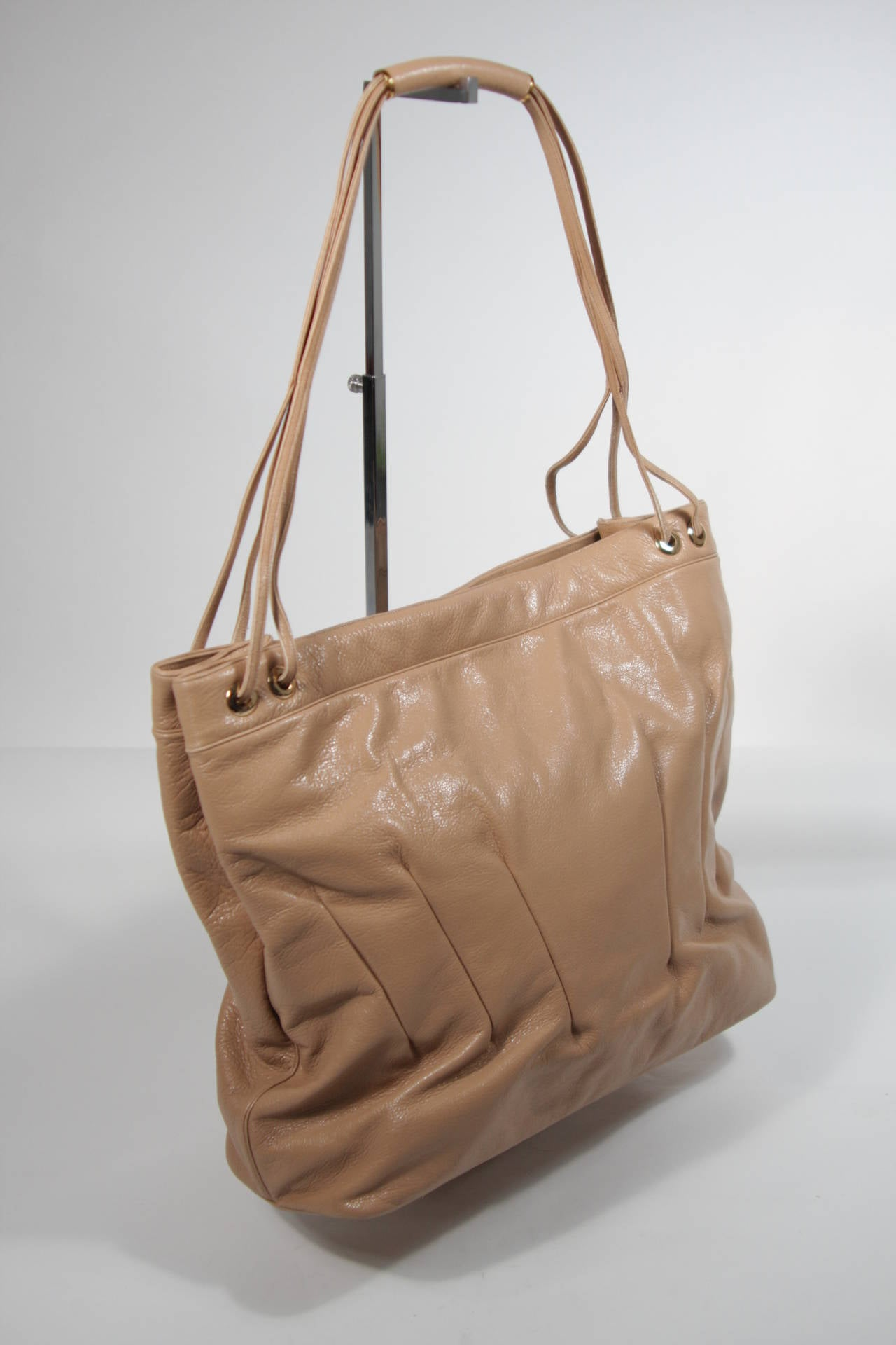 Women's Judith Leiber Caramel Tote with Dart Detailing For Sale