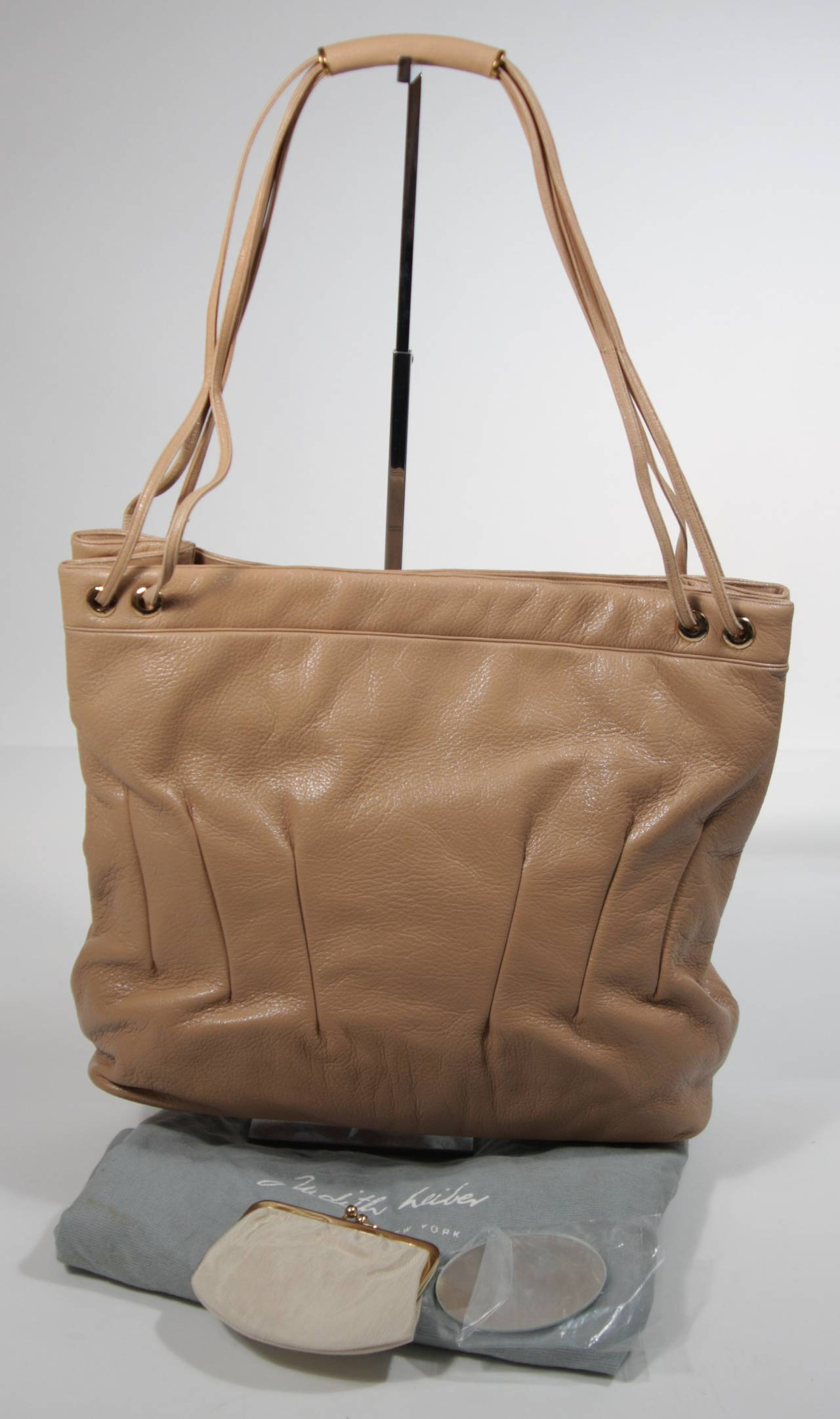 Judith Leiber Caramel Tote with Dart Detailing For Sale 5